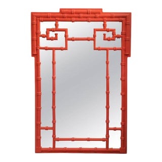 Chinoiserie Greek Key Vintage Newly Lacquered Orange Faux Bamboo Wall Mirror