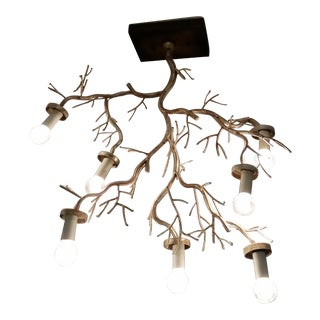 Silver Leaf Birch Tree Flush Mount Fixture