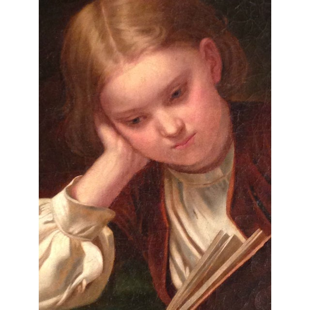 Image of 19th Century Oil Painting - The Young Scholar