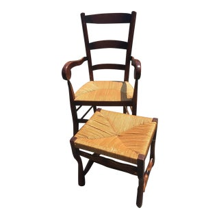 Wood Chair & Ottoman Set - A Pair