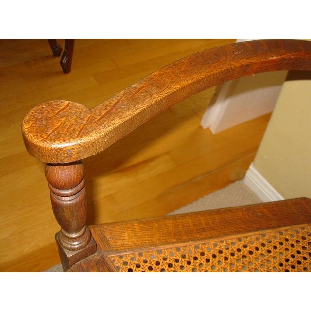 Berkey & Gay Jacobean Cane & Cowhide Arm Chair - Image 9 of 11