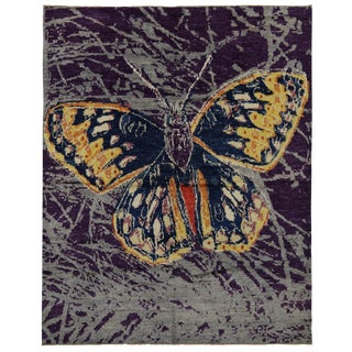 Contemporary Moroccan Style Callippe Silverspot Butterfly Rug - 10′5″ × 13′