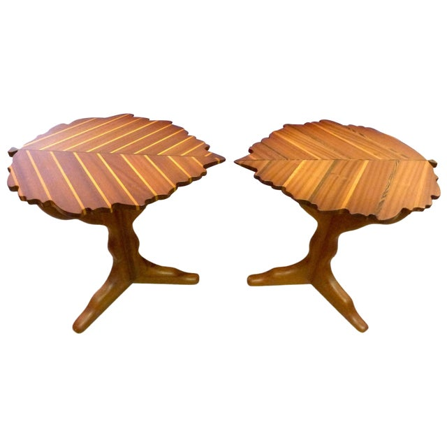 Handmade Wooden Leaf Shaped Side Tables - A Pair - Image 1 of 8