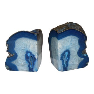 1970s Brazilian Blue Geode Bookends - A Pair