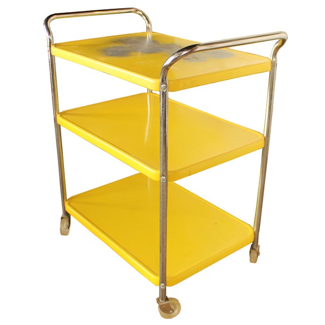 Mid Century Metal Bar Cart - Image 2 of 2