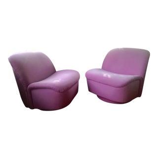 Directional Fuschia Swivel/Rocking Lounge Chairs - Pair