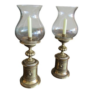 Pair of Tall Decorative Brass Candler Holders With Large Urn Shaped Glass