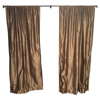 Ethan Allen Silk DuPioni Drapery Panels - A Pair