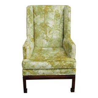 Jack Lenor Larsen Mid Century Modern Tie Dye Upholstered Wing Chair