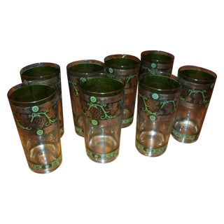 1960's 22k Gold Tumblers Highboys Cera -Set of 8
