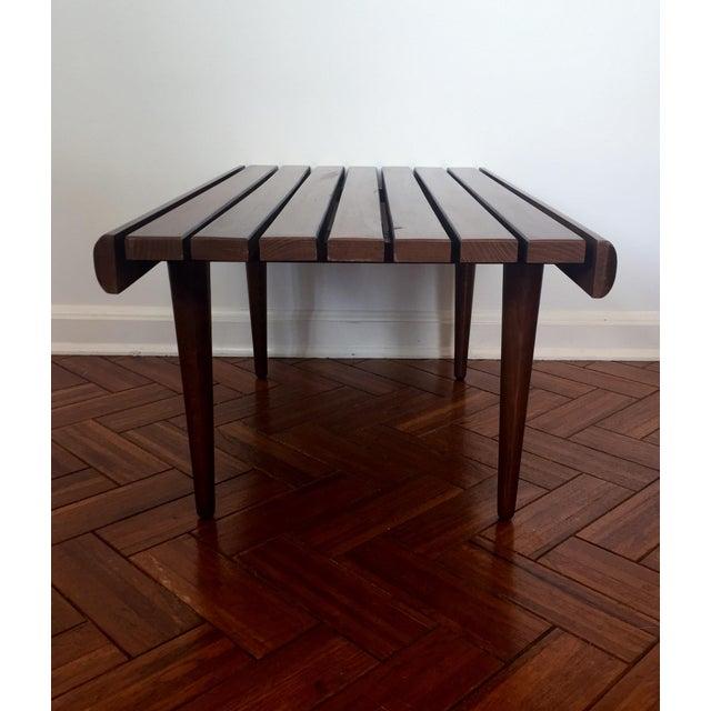 Mid-Century Modern Walnut Slat Bench - Image 3 of 7