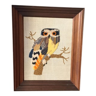 Vintage Hand Made Yarn Owl Artwork