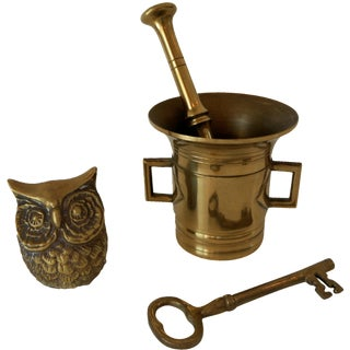 4-Piece Mortar & Pestle - Owl & Key Vignette