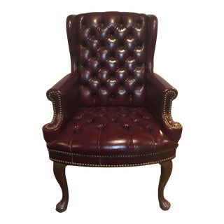 Chesterfield Tufted Leather Wing Chair