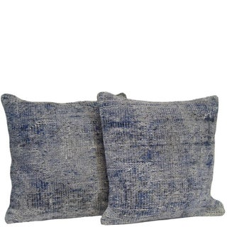 Blue Handmade Over-Dyed Rug Pillow Covers - Pair