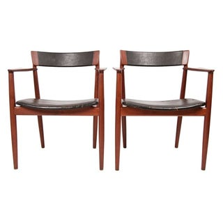 Teak & Leather Arm Chairs - A Pair