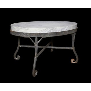 Iron and Marble Oval Table
