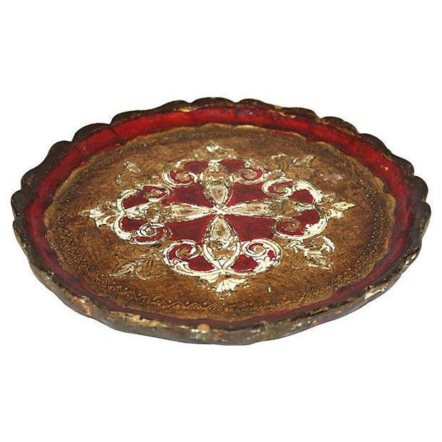Vintage Italian Red & Gold Florentine Tray - Image 2 of 2