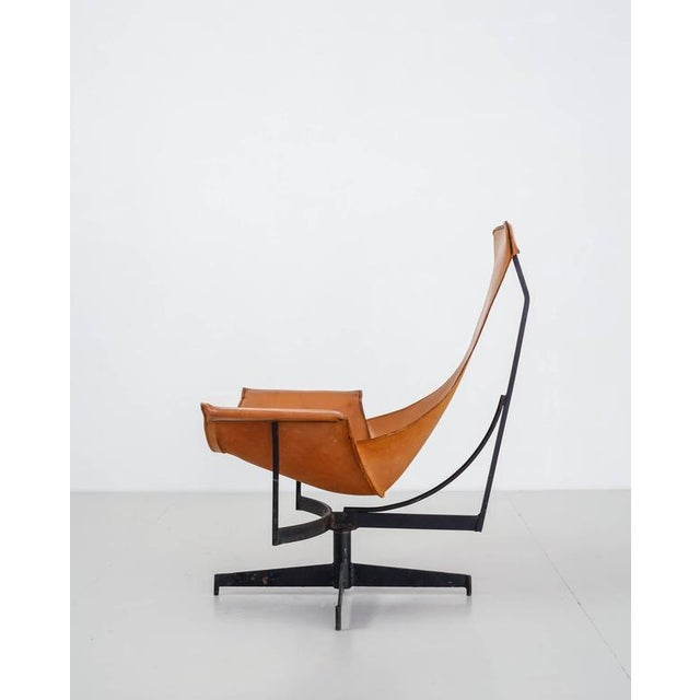 William Katavolos Swiveling Brown Leather Sling Chair, USA, 1950s - Image 2 of 10