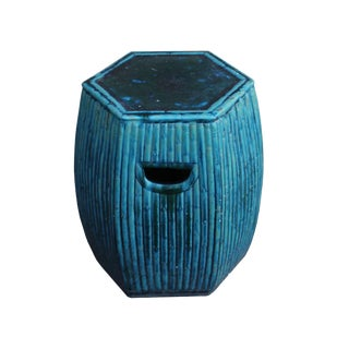 Chinese Hexagon Bamboo Theme Turquoise Green Ceramic Clay Garden Stool