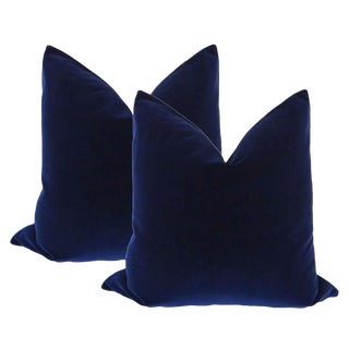 "22"" Velvet Pillows in Sapphire Blue - A Pair"