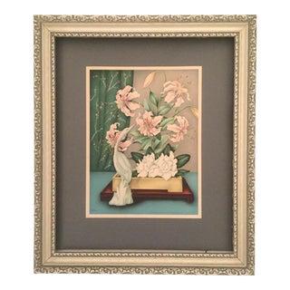 Mid-Century Framed Ikebana Floral Still Life