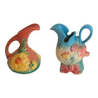 Vintage Roseville & Hull Art Bud Vases - A Pair