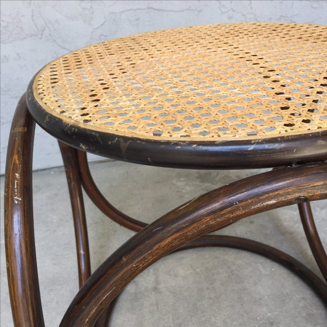 MCM Thonet Bentwood & Cane Ottoman or Side Table - Image 9 of 10