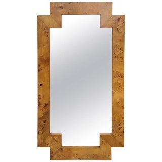 Milo Baughman Style Burl Mirror