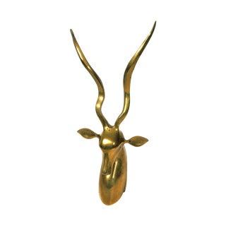 Vintage Brass Impala Bust