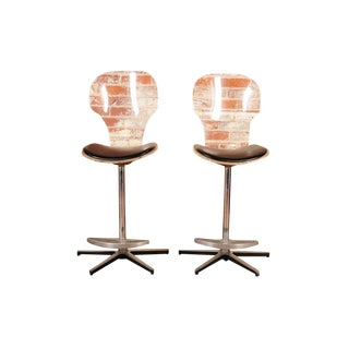 Mid-Century Lucite & Leather Bar Stools - a Pair