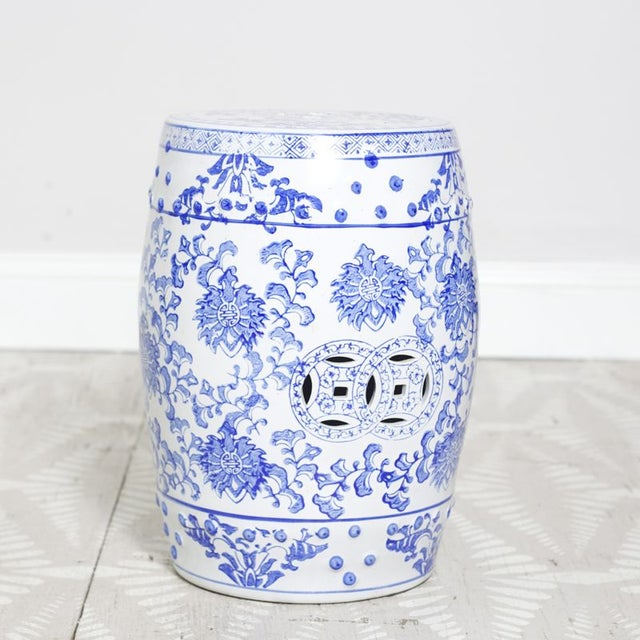 Blue & White Patterned Garden Seat - Image 2 of 4