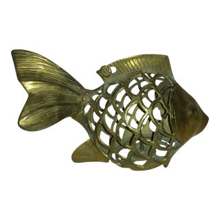 Mid-Century Brass Angel Fish Candle Holder