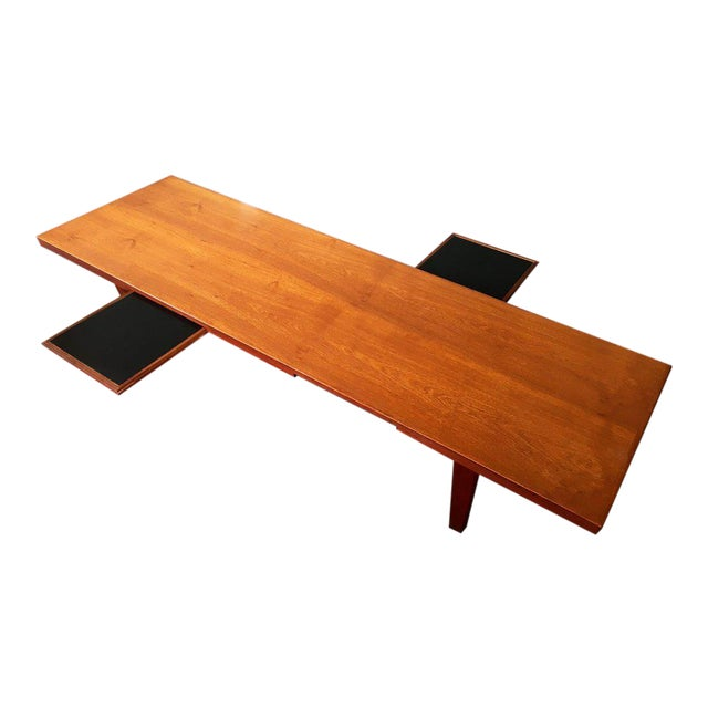 Danish Modern Coffee Table Bench W/ Slide Out Trays - Image 1 of 7