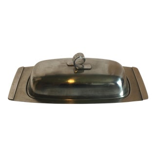 Mid-Century Ribbon Handled Stainless Steel Butter Dish