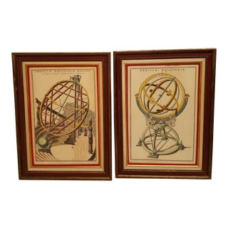 Vintage Hand Colored Armillary Prints - a Pair