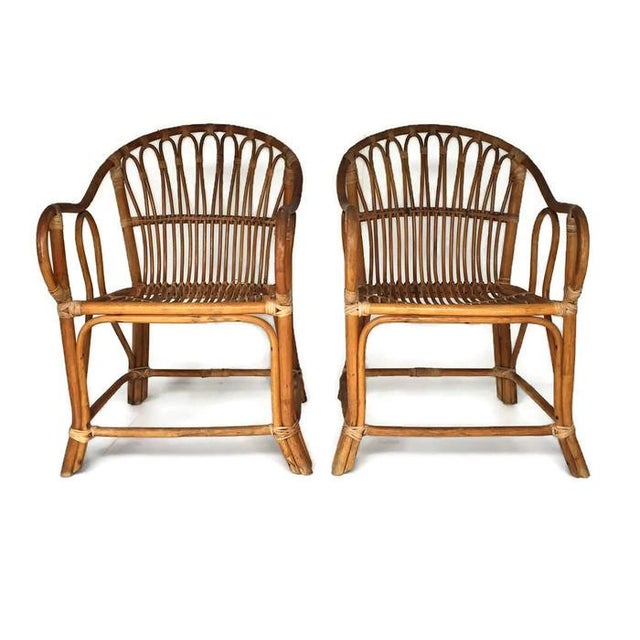 Mid-Century Bamboo Chairs Franco Albini Style Arm Chairs - a Pair - Image 3