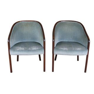Ward Bennett Seafoam Green Mohair Chairs - A Pair