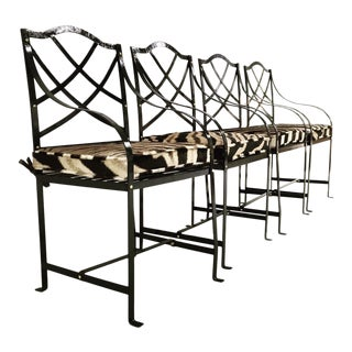Glossy Blue Black Iron Garden Chairs - Set of 4