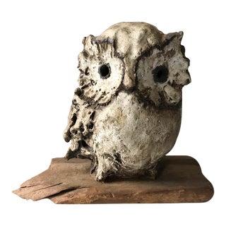 Mid Century Owl on Driftwood, Signed