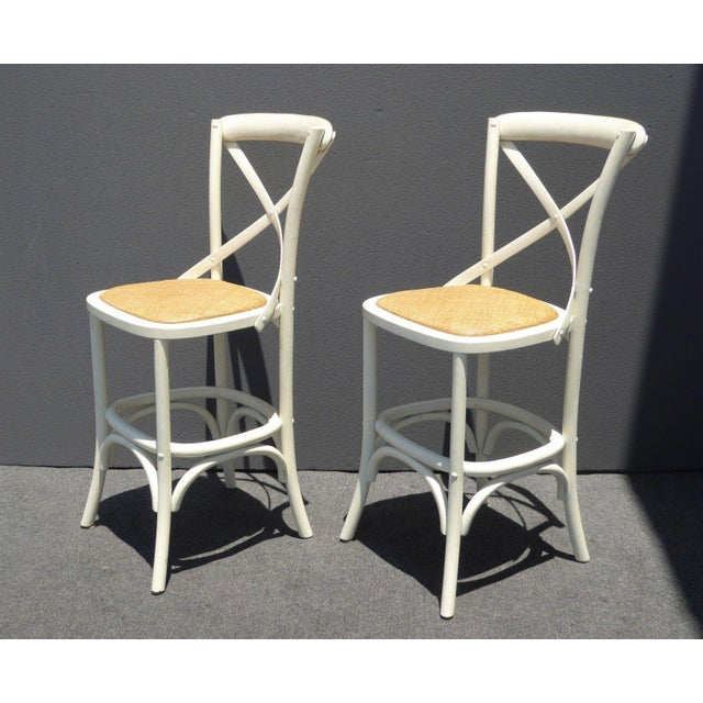 Vintage French Country White Rye Seat Bar Stools - A Pair - Image 3 of 11