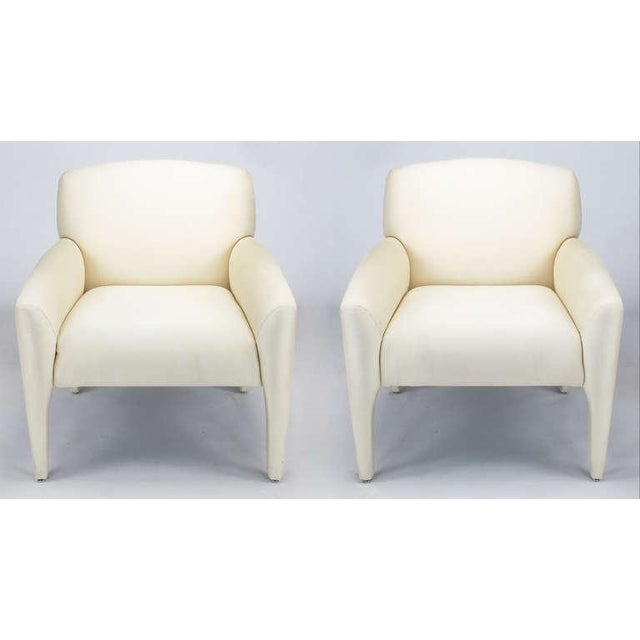 Pair Vladimir Kagan Lounge Chairs In Ivory Silk - Image 2 of 9