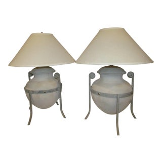 Ceramic Urn Table Lamps - A Pair