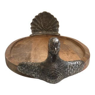 Teak & Metal Turkey Platter