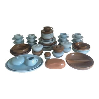 Russel Wright Mid-Century Modern Iroquois Ice Blue & Nutmeg Brown Dinnerware - 82pc Set