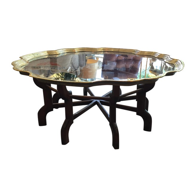 Vintage Moroccan Style Brass And Wood Coffee Table