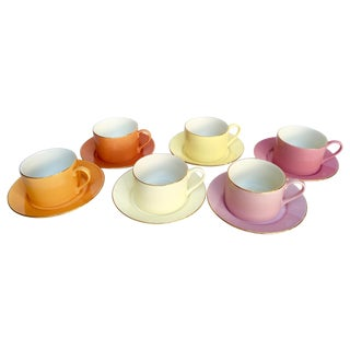 Sherbet-Hued Teacups and Saucers - 12 Pieces