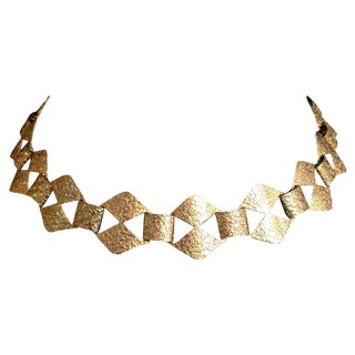 1960's Geometric Textured Gold Collar Necklace