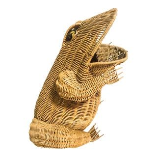 Vintage Mid Century Large Wicker Frog Basket