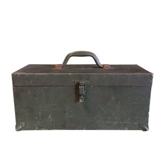 Vintage Army Green Tool Box